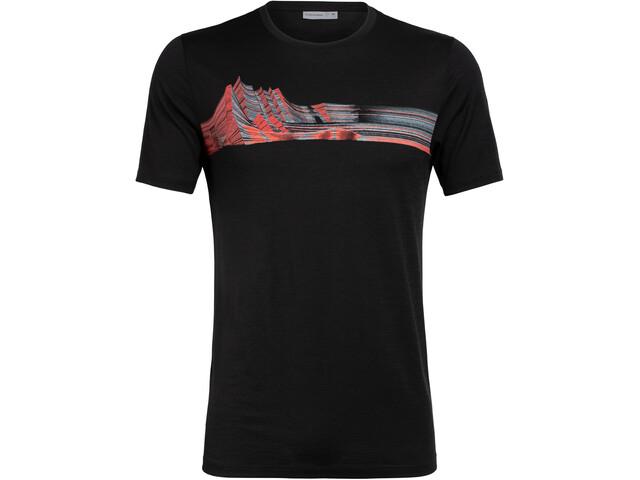 Icebreaker Tech Lite Mont Blanc Moiré Koszulka z krótkim rękawem Mężczyźni, black